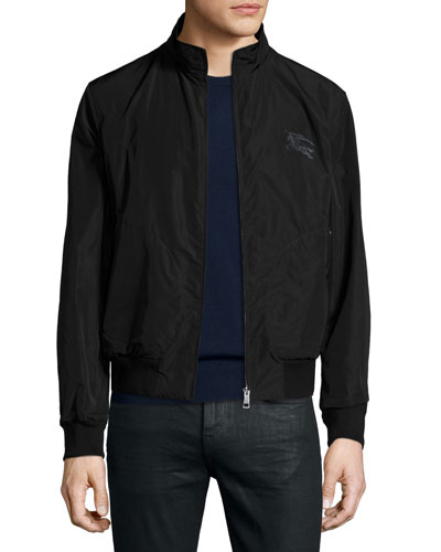 Zip-Front Blouson Jacket, Black