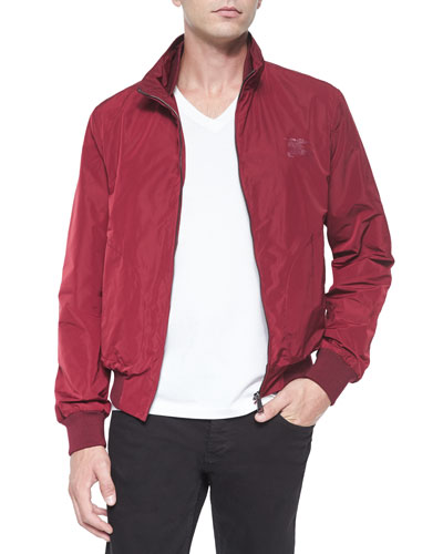Nylon Packaway Zip Jacket, Wine
