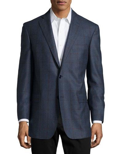 Plaid Sport Coat, Slate Blue, Regular