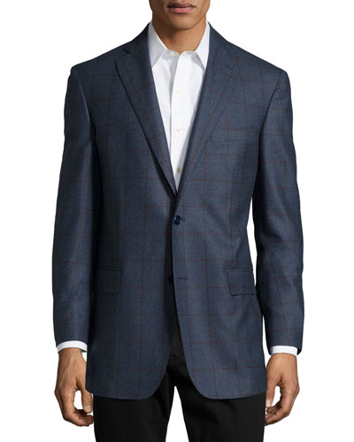 Plaid Sport Coat, Slate Blue, Long