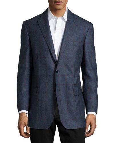 Plaid Sport Coat, Slate Blue, Long