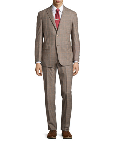 Two-Piece Plaid Suit, Gray, Regular Length