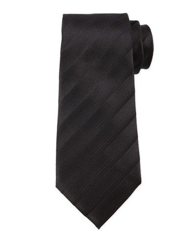Tonal Dressy-Stripe Tie, Black
