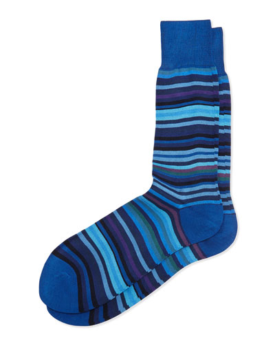 New Multi-Stripe Socks, Blue