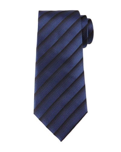 Tonal Dressy-Stripe Tie, Navy