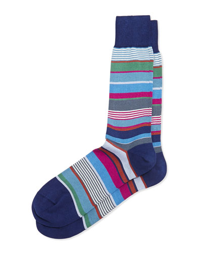 Bold Multicolor Striped Socks, Navy