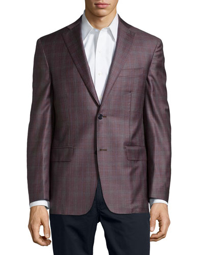 Glen Plaid Sport Coat, Camel, Long