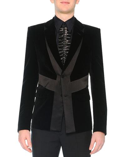 Velvet Evening Jacket with Satin Detail, Black