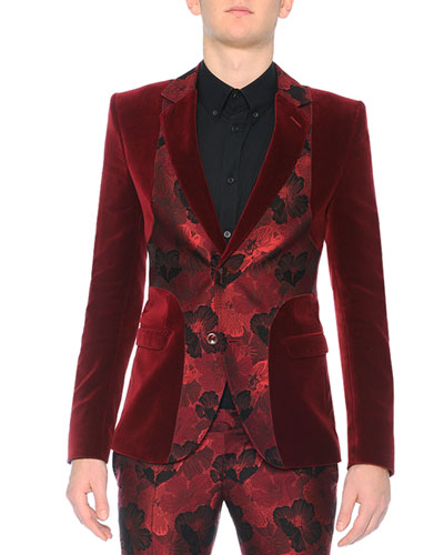 Velvet Evening Jacket with Poppy Front, Burgundy