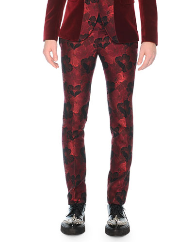 Poppy Brocade Trousers, Burgundy
