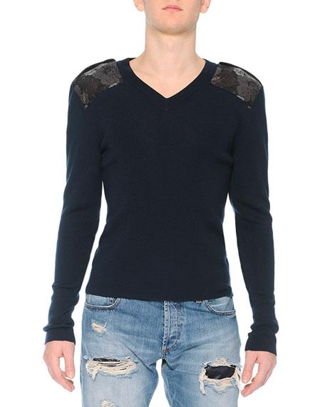 Alexander McQueen Crewneck Sweater with Poppy-Brocade Shoulders,