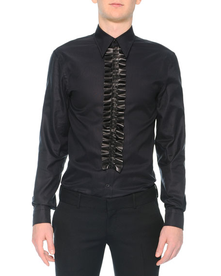 Alexander McQueen Poplin Shirt with Leather Ruffle, Black