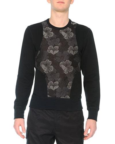 Poppy-Brocade Harness Sweatshirt, Black
