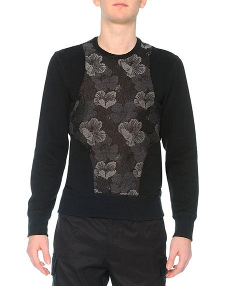 Alexander McQueen Poppy-Brocade Harness Sweatshirt, Black