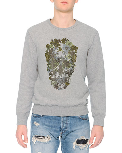 Crewneck Sweatshirt with Floral Skull Print, Gray