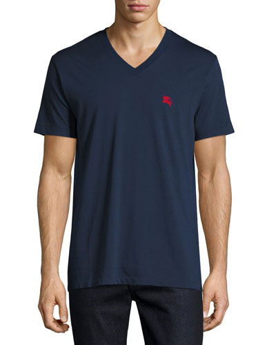 Lindon V-Neck Jersey Tee, Navy