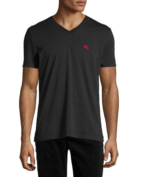 Burberry Lindon Cotton V-Neck T-Shirt, Black