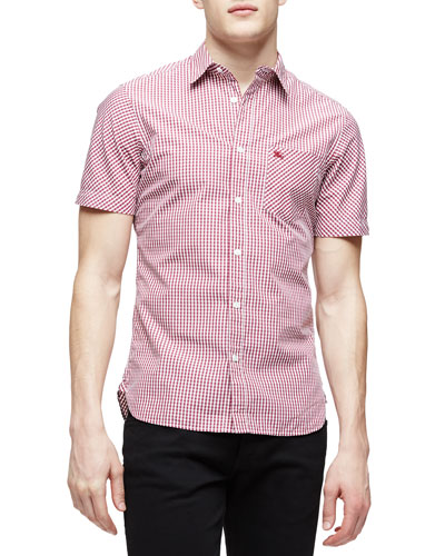 Short-Sleeve Gingham Shirt, Red