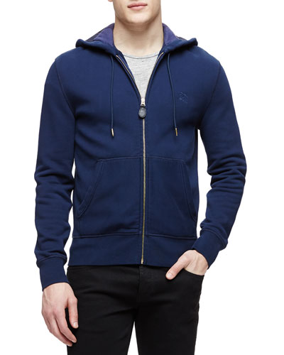 Knit Zip-Up Hoodie with Check Lining, Navy