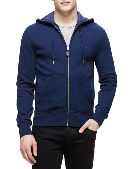 Burberry Brit Knit Zip-Up Hoodie with Check Lining, Navy