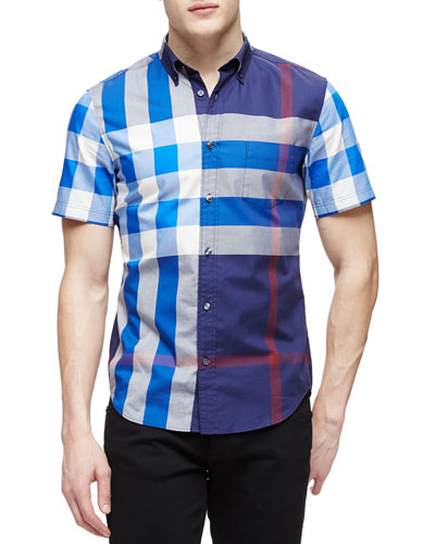 Short-Sleeve Exploded Check Sport Shirt, Navy
