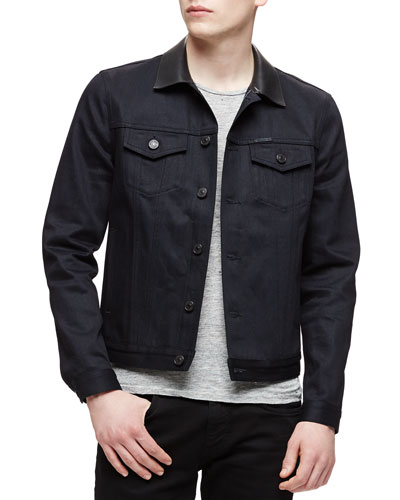 Dark Denim Trucker Jacket, Black