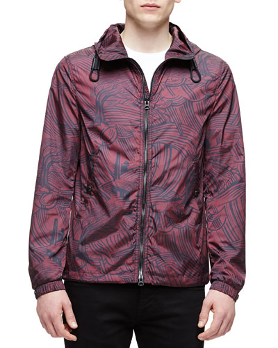 Printed Nylon Blouson Jacket, Burgundy
