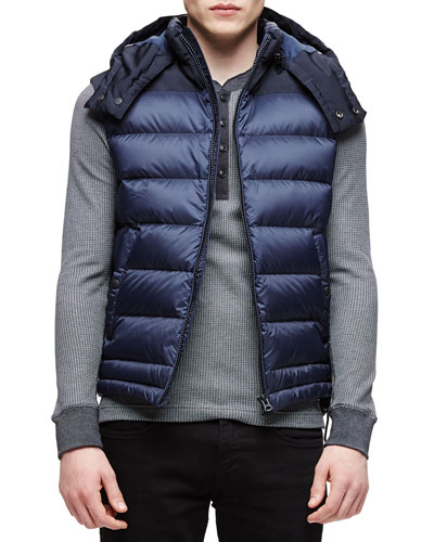 Fitzroy Lightweight Puffer Vest with Hood, Navy