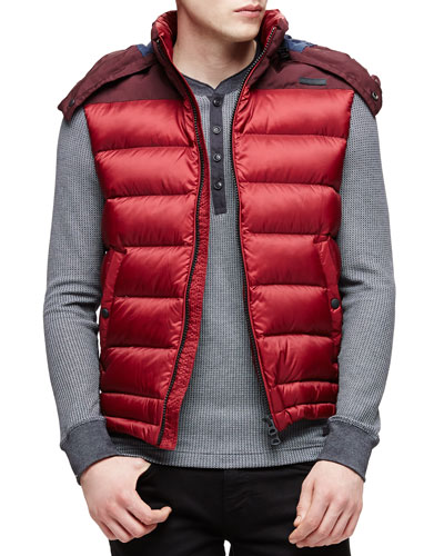 Fitzroy Lightweight Puffer Vest with Hood, Red