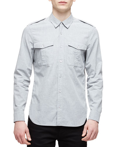 Solid Long-Sleeve Military Shirt, Light Gray