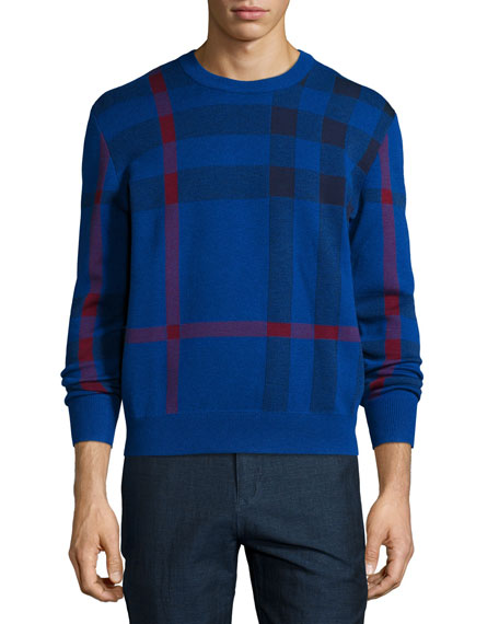 Burberry Brit Redbury Exploded-Check Sweater, Navy