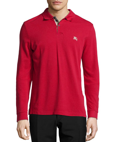 Long-Sleeve Pique Polo Shirt, Red