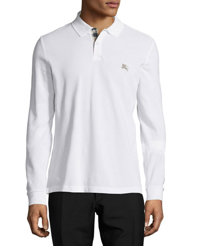 Long-Sleeve Pique Polo Shirt, White