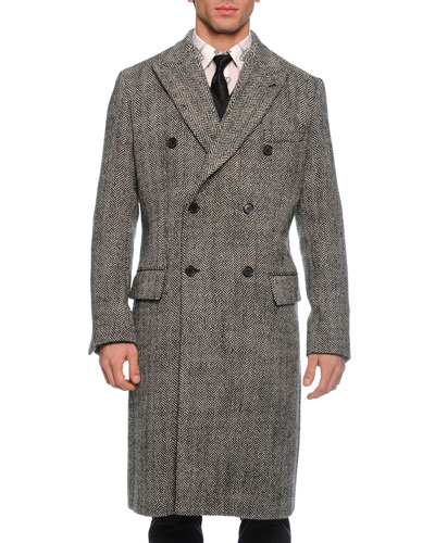 Herringbone Double-Breasted Overcoat, Black/White