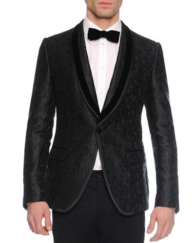 Brocade-Print Evening Jacket, Black