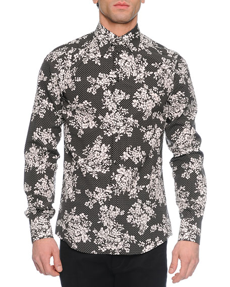 Dolce & Gabbana Dot & Floral Print Long-Sleeve