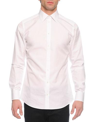 Long-Sleeve Woven Shirt, White
