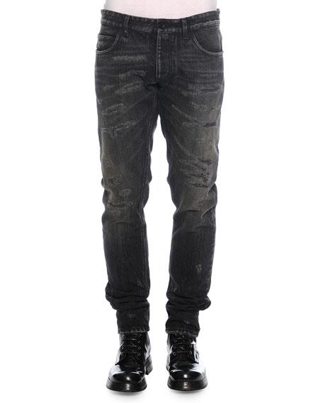 Dolce & Gabbana Distressed Washed Denim Jeans, Black