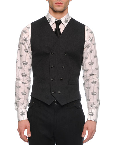 Double-Breasted Woven Vest, Gray
