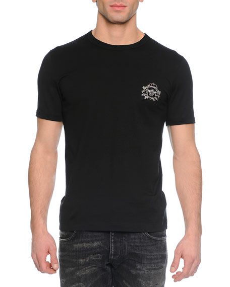 Dolce & Gabbana Woven Crewneck T-Shirt with Crown, Black