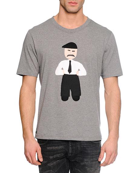 Dolce & Gabbana Man-Applique Woven T-Shirt, Gray