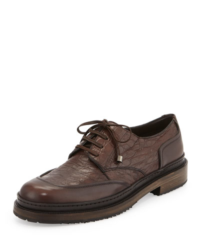 Monza Crocodile/Calfskin Runway Lace-Up Shoe on Multi-Layer Sole, Chocolate