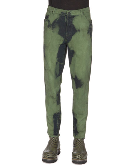 Kenzo Over-Dyed Denim Jeans, Blue/Green