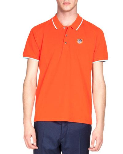 Tipped Tiger Short-Sleeve Pique Polo Shirt, Orange/White