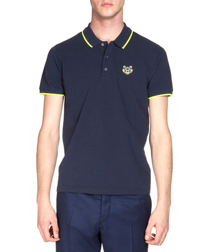 Tipped Tiger Short-Sleeve Pique Polo Shirt, Navy/Yellow