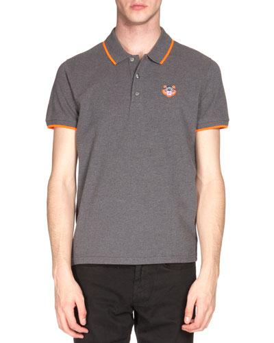 Tipped Tiger Short-Sleeve Pique Polo Shirt, Gray/Orange