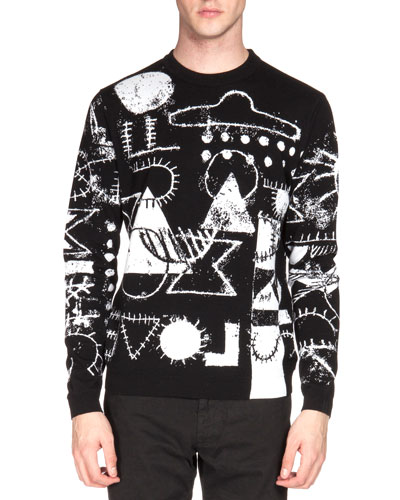 UFO & Symbol-Print Crewneck Sweater, Black/White