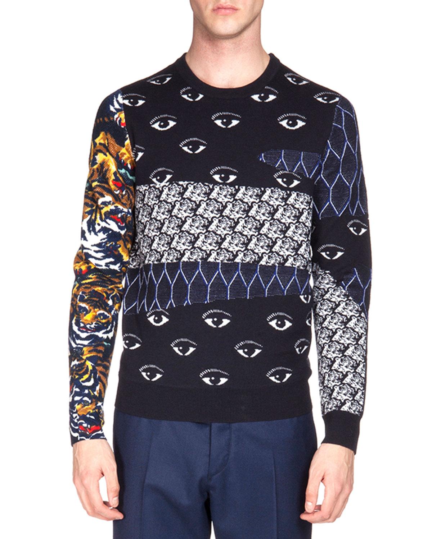 22bd0328a Kenzo Multi-Icon Print Crewneck Sweater, Navy | Neiman Marcus