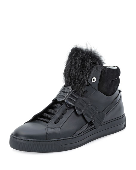 Fendi Croc-Strap Leather High-Top Sneaker, Black
