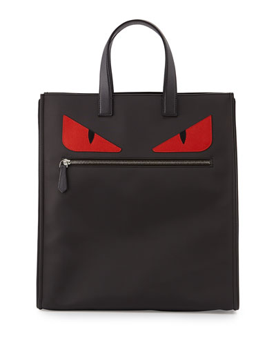 Monster-Eye Nylon Tote Bag, Gray/Red